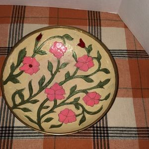Vintage brass bowl with painted flowers green vine